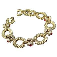 Camrose & Kross Jacqueline Kennedy Replica Vintage Ruby Crystal Rhinestone Rope Bracelet, NEW In Box!
