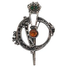 Vintage Celtic Penannular Faux Cairngorm Rhinestone Pin, Made In Ireland
