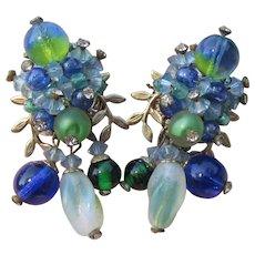 Spectacular VENDOME Vintage Givre Glass & Crystal Bead Dangle Earrings