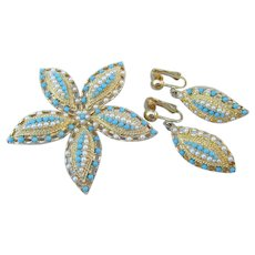Sarah Coventry OCEAN STAR Vintage Set, Faux Pearl & Turquoise Starfish Pin & Earrings
