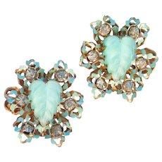 Signed KAFIN Vintage Molded Glass Cabochon, Enamel & Rhinestone Earrings
