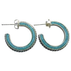 Carolyn Pollack Relios Vintage Sterling Silver Turquoise Chip Hoop Earrings, MINT!