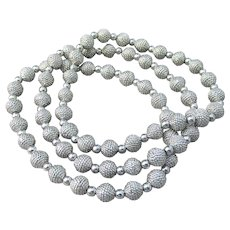 Joan Rivers Vintage Set of 3 Classic Textured White Gold Plated Bead Stretch Bracelets, NEW In Pouch