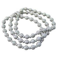 Joan RIVERS 3 Classic Textured Silver Tone Bead Stretch Bracelets, MIB