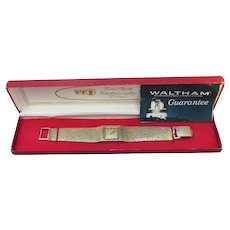 1970's Vintage Solid 14k Gold Waltham Watch, MINT In Box w/ Brochure
