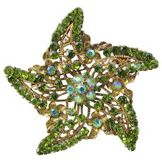 Large Unsigned WEISS Vintage Green AB Rhinestone Starfish Pin Pendant