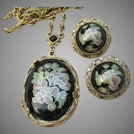 Vintage Signed 1928 Jewelry Company Floral Enamel Faux Locket Earrings & Pierced Earrings Set