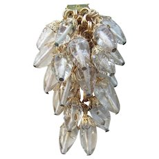 Unsigned Early Haskell Glass Icicle Beads Dress or Fur Clip