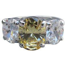 Signed Nolan Miller Big Vintage Lemon Ice CZ Ring, Size 7