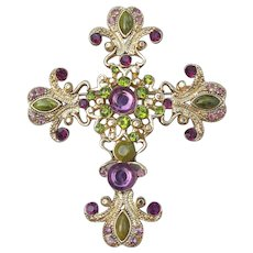 Large Vintage Ornate Green & Purple Rhinestone Cross Pin