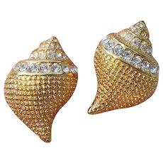 Kenneth Jay Lane KJL Signed Vintage Seashell Rhinestone Pierced Earrings