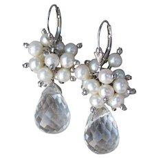 Teardrop Crystal Briolette Dangles w/ Cultured Pearl Clusters Sterling Silver Lever Back WEDDING Earrings