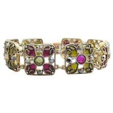 Gorgeous Signed MONET Vintage Rhinestone & Enamel Square Link Bracelet