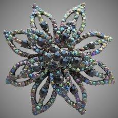 Beautiful Large Vintage Layered Japanned Black Aurora Borealis Rhinestone Star Flower Pin