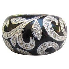 Sterling Silver, CZ, Black Enamel Domed Wide Band Ring, Size 7