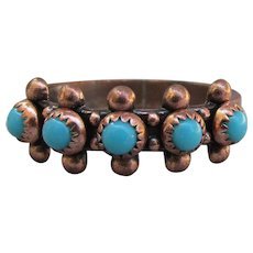 Vintage Native American Copper & Turquoise Petit Point Band Ring, Size 8