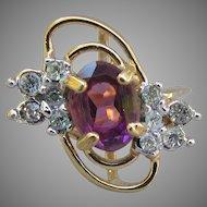 Mid-Century Modern Sterling Silver Gold Vermeil Vintage Amethyst Ring, Size 7
