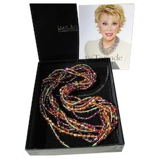 Joan Rivers Vintage Torsade Bead Necklace Wardrobe, Jewel Tones, New In Box!