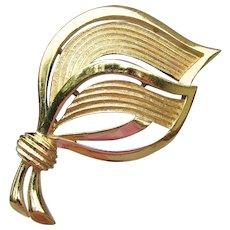 Signed Crown Trifari Vintage 1960's Mid-Century Modern Leaf Pin