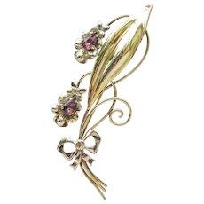 Van Dell Signed 12k Gold Filled 1940's Retro Amethyst Rhinestone Flower Bouquet Pin