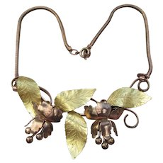 Magnificent 1940's Retro BIG Copper, Brass Leaf & Flower Centerpiece Necklace