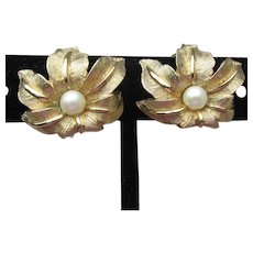 Signed Boucher Vintage Curved Flower Faux Pearl Earrings
