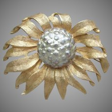 Large Signed Accessocraft Vintage Sunflower Pin