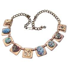 Mid-Century Matisse Renoir Vintage Copper & Multi-Color Enamel Necklace, Hearts, Ovals, Squares