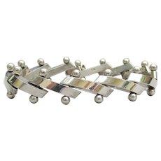Mexican Sterling Silver Heavy Diagonal Link & Bar Vintage Bracelet