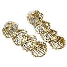 4-Section Articulated Gold Tone Filigree & Rhinestone Vintage Dangle Earrings, NEW Old Stock!