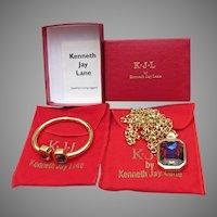 KJL Kenneth Jay Lane Watermelon Heliotrope Rhinestone Bracelet & Necklace, MIB