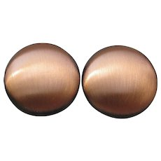 KIM Brand Vintage Round Copper Button Clip Earrings, NEW On Card