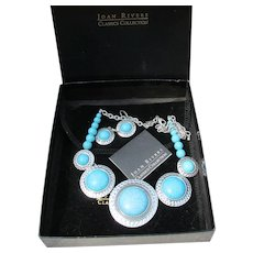 Joan Rivers Vintage BIG Faux Turquoise Necklace & Earrings Set, NEW In Box!