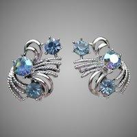 Vintage CORO Blue AB Rhinestone Silver Tone Clip Earrings
