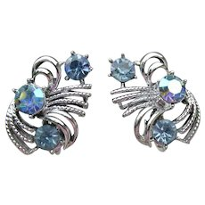 Vintage CORO Signed Blue Aurora Borealis Rhinestone Silver Tone Clip Earrings