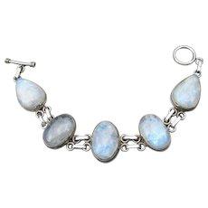 Large Vintage Sterling Silver Moonstone Toggle Bracelet