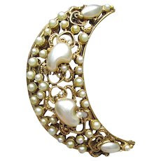 Signed Florenza Vintage Faux Pearl Crescent Moon Pin