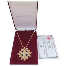 Camrose & Kross Jackie Kennedy Enamel Faux Pearl Ruby Rhinestone Replica Cross Necklace, NEW In BOx!