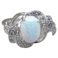 Delicate Sterling Silver & Lab Created Vintage OPAL Ring, Size 6