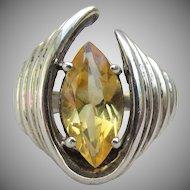 Modernist Sterling Silver Vintage Lemon Ice Marquise CZ Ring, Size 6