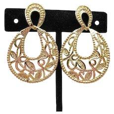 Big 1980s Gold Tone Filigree Doorknocker Dangle Earrings