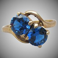 Vintage 10k Yellow Gold Created Sapphire Baden & Foss Ring, Size 7