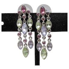 Joan Rivers 1990's Vintage Purple & Green Rhinestone 3 Row Dangle Earrings