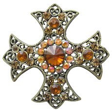 Large Vintage Unsigned Weiss Amber Rhinestone Maltese Cross Pin