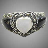 Heart Shaped Mother-of-Pearl Vintage Sterling Silver Black Onyx Ring, Size 8