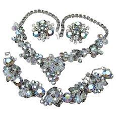 Juliana D&E Black Diamond Rhinestone Dangling Crystals Necklace, Bracelet, Earrings Set