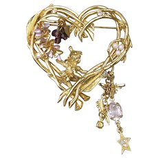 Kirks Folly Signed Vintage WISTERIA Heart Pin, Dangling Angels, Pearls, Crystals