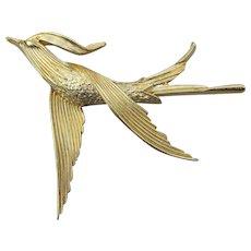 Vintage Signed TRIFARI Sleek Tropical Bird in Flight Pin