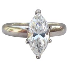 Vintage Sterling Silver 1 Carat Marquise CZ Solitaire Ring, Size 8