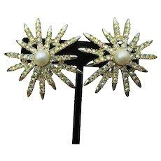 Signed EMMONS Vintage 1950s Big AB Rhinestone & Faux Pearl Starburst Earrings